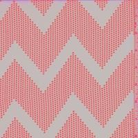 Peach/Neon Pink Dotted Chevron Georgette