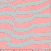 Stone/Neon Pink Abstract Stripe Georgette