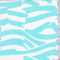 White/Mint Abstract Stripe Georgette