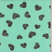 Aqua Green/Onyx Heart Georgette