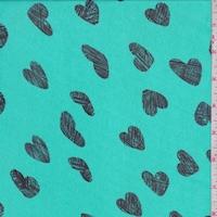 Jade Green/Onyx Heart Georgette