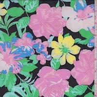 Black Neon Multi Tropical Floral Georgette