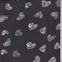 Black/White Heart Georgette