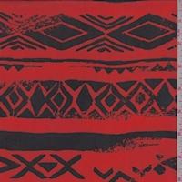 Bright Red/Black Tribal Stripe Georgette