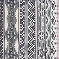 Cloud/Moss/Black Aztec Stripe Georgette