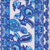 White/Cobalt Floral Stripe Georgette