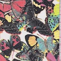 White/Salmon/Black Butterfly Georgette