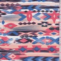 Blush/Periwinkle Ikat Aztec Georgette