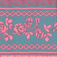 Jade Blue/Neon Pink Floral Stripe Georgette