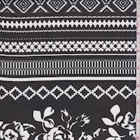 Black/White Floral Stripe Georgette