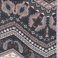 Black/Cocoa/Grey Deco Chevron Georgette