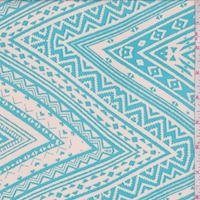 Ecru/Turquoise Aztec Zig Zag Georgette