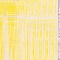 Bright Yellow/White Brushstroke Silk Chiffon