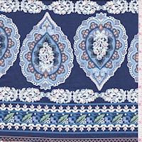 Navy/Terra Cotta Stylized Stripe Print Cotton