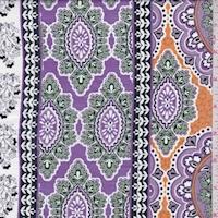 Lavender/Jade Stylized Stripe Print Cotton