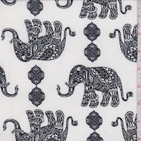 Ivory Medallion Elephant Double Brushed Jersey Knit
