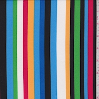 Blue/Green/Pink Stripe Double Brushed Jersey Knit