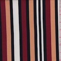 Beige/Wine/Black Stripe Double Brushed Jersey Knit