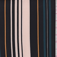 Pale Pink/Black/Teal Stripe Double Brushed Jersey Knit