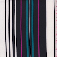 White/Black/Teal Stripe Double Brushed Jersey Knit