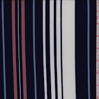 Navy/White/Mauve Stripe Double Brushed Jersey Knit