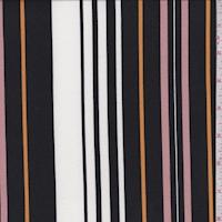 White/Black/Blush Stripe Double Brushed Jersey Knit
