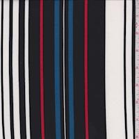 Black/White/Blue Stripe Double Brushed Jersey Knit