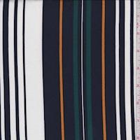 Navy/White/Spruce Stripe Double Brushed Jersey Knit
