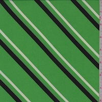 Bright Green Diagonal Stripe Double Brushed Jersey Knit