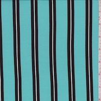 Aqua Green/Black Stripe Double Brushed Jersey Knit
