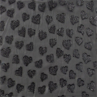*1 1/8 YD PC--Black Sparkle Heart Crinkled Chiffon