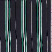 *1 1/4 YD PC--Navy/Kelly Stripe Silk Satin Chiffon