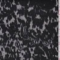 *1 1/4 YD PC--Black/Grey Ikat Print Sweater Knit