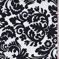 *3 5/8 YD PC--White/Black Damask Print Swimwear