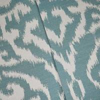 *2 YD PC--Teal/White Indoor/Outdoor Ikat Damask Jacquard Decor Fabric