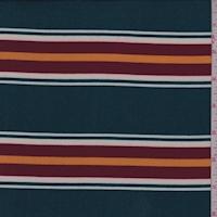 Spruce/Wine/Gold Stripe Double Brushed Jersey Knit