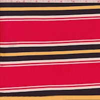 Raspberry/Navy/Yellow Stripe Double Brushed Jersey Knit