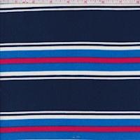 Navy/Blue/Raspberry Stripe Double Brushed Jersey Knit
