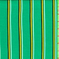 Sea Green Multi Stripe Double Brushed Jersey Knit