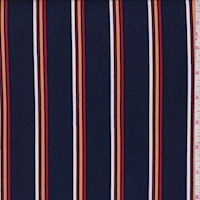 Ink Blue Multi Stripe Double Brushed Jersey Knit