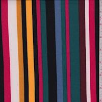 Spruce/Black/Wine Multi Stripe Double Brushed Jersey Knit