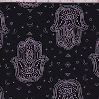 Black/Lilac Henna Print Double Brushed Jersey Knit