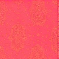 Day Glo Pink Henna Print Double Brushed Jersey Knit