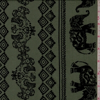 Fern/Black Elephant Stripe Double Brushed Jersey Knit