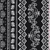 Black/White Elephant Stripe Double Brushed Jersey Knit