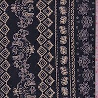 Black/Peach Elephant Stripe Double Brushed Jersey Knit