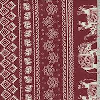 Sienna/White Elephant Stripe Double Brushed Jersey Knit