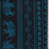 Black/Teal Elephant Stripe Double Brushed Jersey Knit