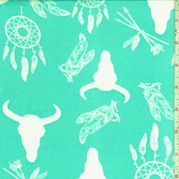 Pale Turquoise/White Dream Catcher Double Brushed Jersey Knit