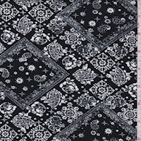 Onyx/White Deco Diamond Double Brushed Jersey Knit